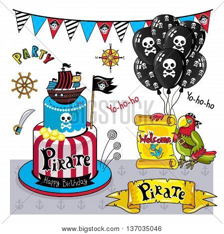 Pirate party vector elements isolated on white background. Jolly Roger flag. Cartoon pirate illustration. Birthday cake at pirate style ship. Flags in pirate style signboard with inscription pirate. Pirate concept and pirate symbols.