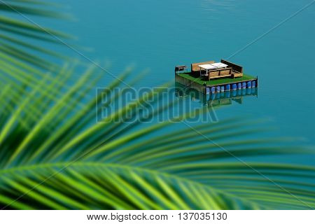 elevated view of home made fun boat on lake