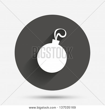 Christmas ball sign icon. Holidays button. Circle flat button with shadow. Vector