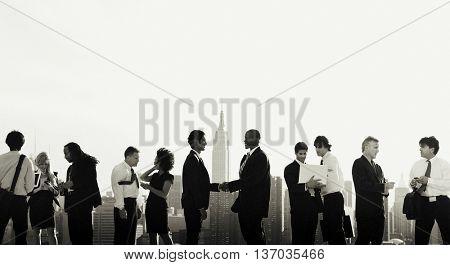 Business People New York Handshake Concept