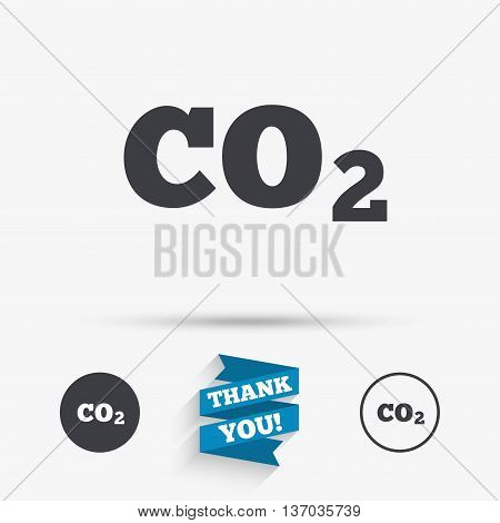 CO2 carbon dioxide formula sign icon. Chemistry symbol. Flat icons. Buttons with icons. Thank you ribbon. Vector