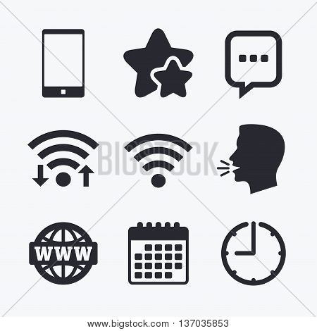 Communication icons. Smartphone and chat speech bubble symbols. Wifi and internet globe signs. Wifi internet, favorite stars, calendar and clock. Talking head. Vector