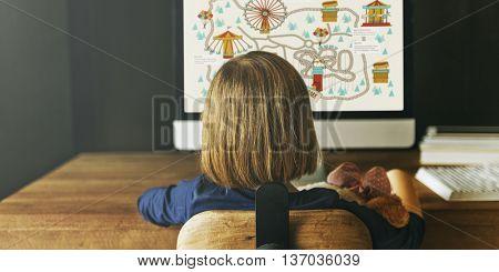Child Watching Monitor Enjoyment Concept