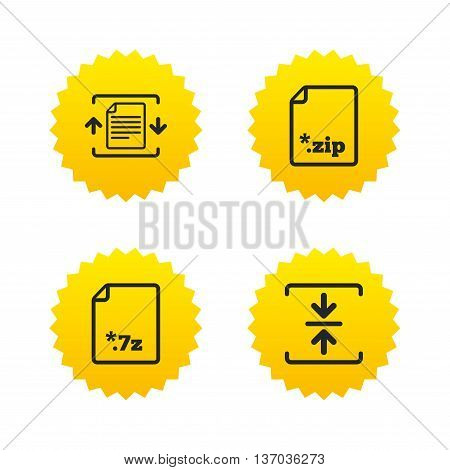 Archive file icons. Compressed zipped document signs. Data compression symbols. Yellow stars labels with flat icons. Vector