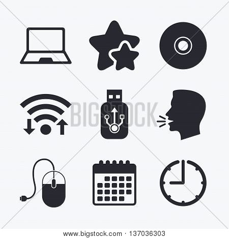 Notebook pc and Usb flash drive stick icons. Computer mouse and CD or DVD sign symbols. Wifi internet, favorite stars, calendar and clock. Talking head. Vector