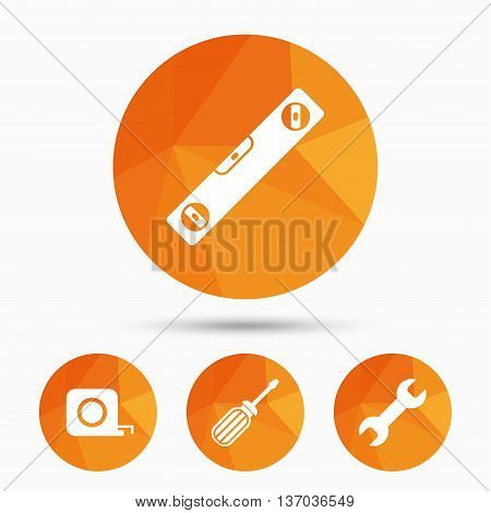 Screwdriver and wrench key tool icons. Bubble level and tape measure roulette sign symbols. Triangular low poly buttons with shadow. Vector