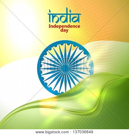 Indian Independence Day concept background with Ashoka wheel. Vector Illustration. Flag India theme background for Republic day.