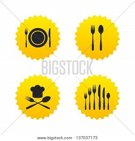 Plate dish with forks and knifes icons. Chief hat sign. Crosswise cutlery symbol. Dessert fork. Yellow stars labels with flat icons. Vector