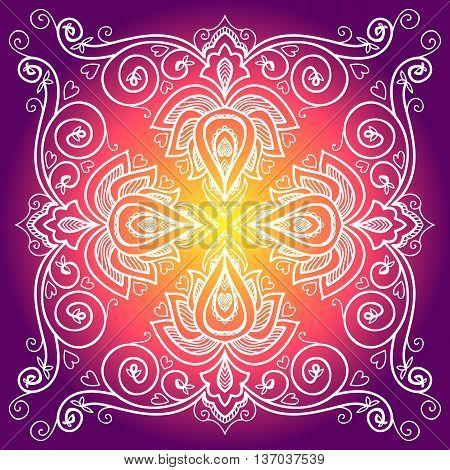 vector Indian floral ornament for serviette pattern, vintage textile.