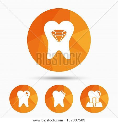 Dental care icons. Caries tooth sign. Tooth endosseous implant symbol. Tooth crystal jewellery. Triangular low poly buttons with shadow. Vector poster