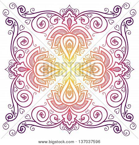 vector Indian floral ornament for serviette pattern, vintage textile.