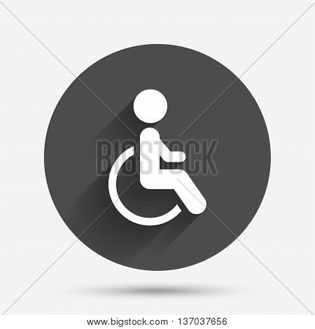 Disabled sign icon. Human on wheelchair symbol. Handicapped invalid sign. Circle flat button with shadow. Vector