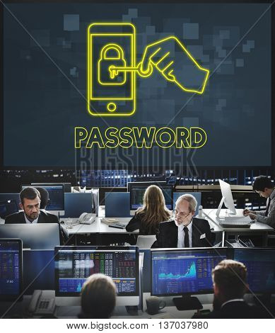 Password Online Network Security Technology Graphic Concept