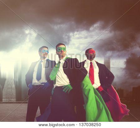 Superhero Businessmen Teamwork Success Concept