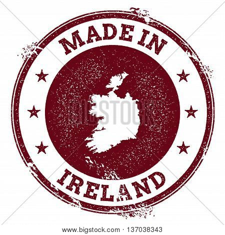 Ireland Vector Seal. Vintage Country Map Stamp. Grunge Rubber Stamp With Made In Ireland Text And Ma
