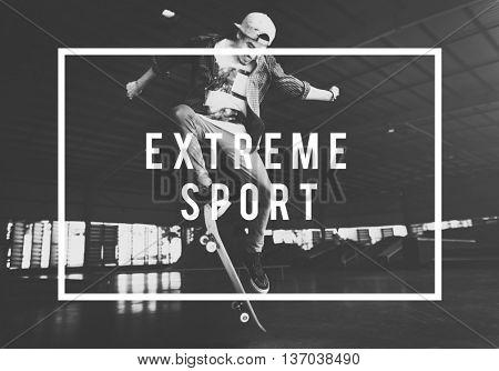 Skateboard Skater Extreme Enjoyment Ollie Concept