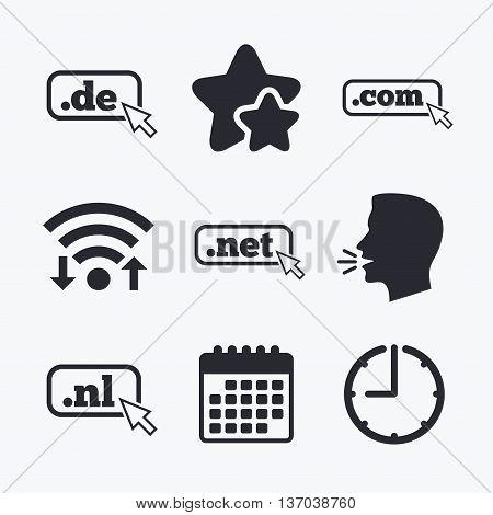 Top-level internet domain icons. De, Com, Net and Nl symbols with cursor pointer. Unique national DNS names. Wifi internet, favorite stars, calendar and clock. Talking head. Vector
