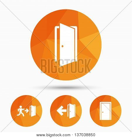 Doors icons. Emergency exit with human figure and arrow symbols. Fire exit signs. Triangular low poly buttons with shadow. Vector