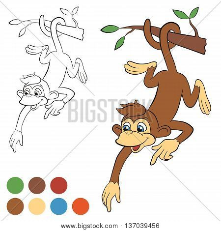 Coloring page. Color me: monkey. Little cute monkey hanging on the tree and pointing somewhere. Monkey smiles.