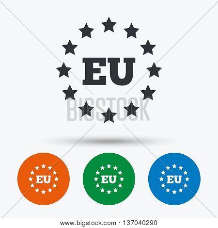 European union icon. EU stars symbol. Round circle buttons with icon. Vector