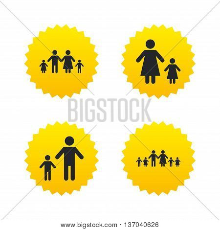 Large family with children icon. Parents and kids symbols. One-parent family signs. Mother and father divorce. Yellow stars labels with flat icons. Vector