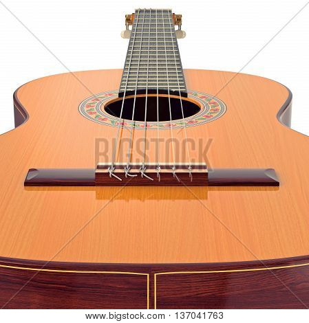 Bridge spanish acoustic wooden guitar, close view. 3D graphic