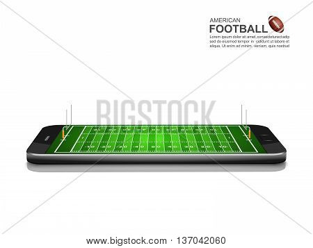 American Football Online Concept, American Football field on smartphone , vector illustration