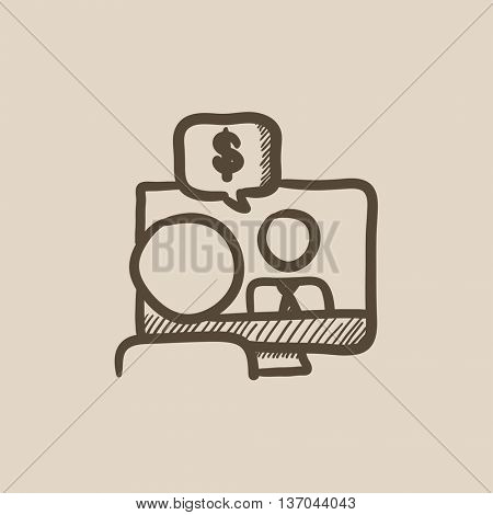 Business video negotiations vector sketch icon isolated on background. Hand drawn Business video negotiations icon. Business video negotiations sketch icon for infographic, website or app.