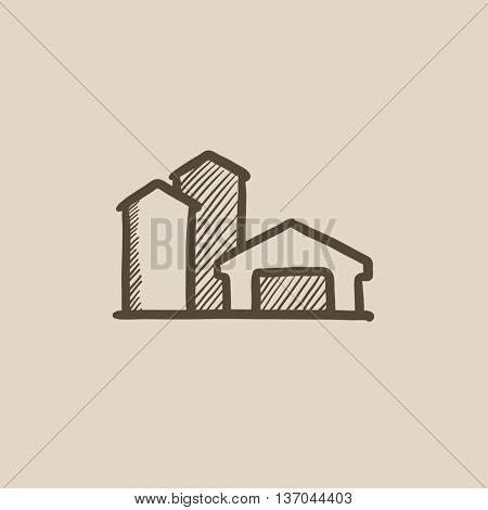 Farm buildings sketch icon for web, mobile and infographics. Hand drawn farm buildings icon. Farm buildings vector icon. Farm buildings icon isolated on white background.