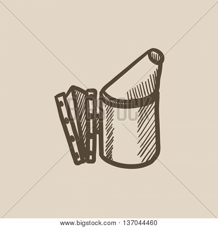 Bee hive smoker sketch icon for web, mobile and infographics. Hand drawn bee hive smoker icon. Bee hive smoker vector icon. Bee hive smoker icon isolated on white background.
