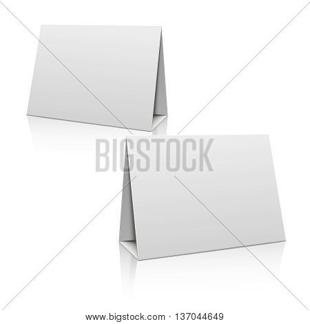 Blank white paper stand table holder card. 3D vector design template. Mockup blank for brochure or card, illustration horizontal poster