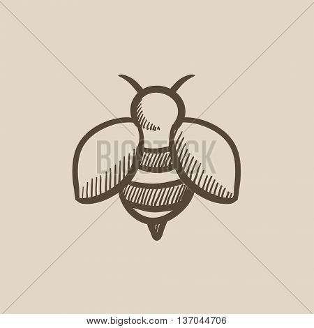 Bee sketch icon for web, mobile and infographics. Hand drawn bee icon. Bee vector icon. Bee icon isolated on white background.