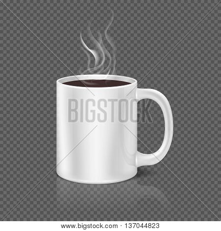 White steam over coffee or tea cup on dark plaid background. Beverage coffee in ceramic cup, morning mug of coffee. Vector illustration