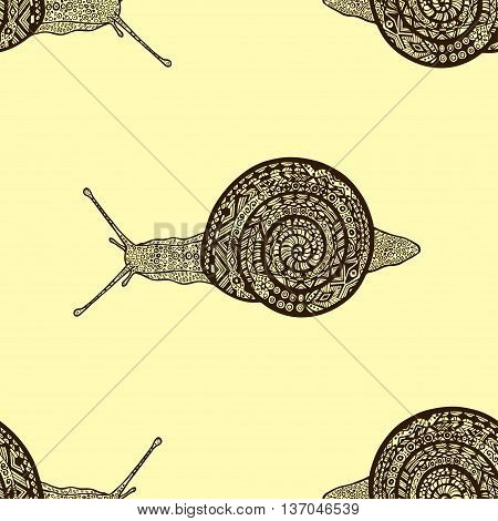 seamless pattern from snails in boho doodle style