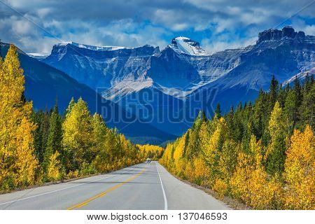Majestic mountains and glaciers on the background of cloudy sky. Canadian Rockies, Banff National Park in the autumn. Bright yellow aspen and birch beside the highway