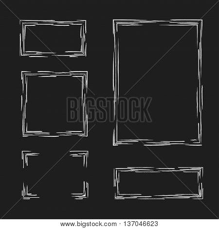 Set hand drawn frames. Text box, frames, corners. White on black background. Vector illustration