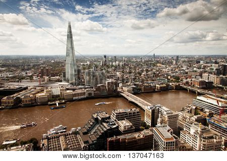 England - Skyline of South London with London Bridge, Shard skyscraper and River Thames - United Kingdom
