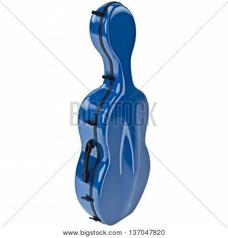 Plastic case cello with black metal latch. 3D graphic