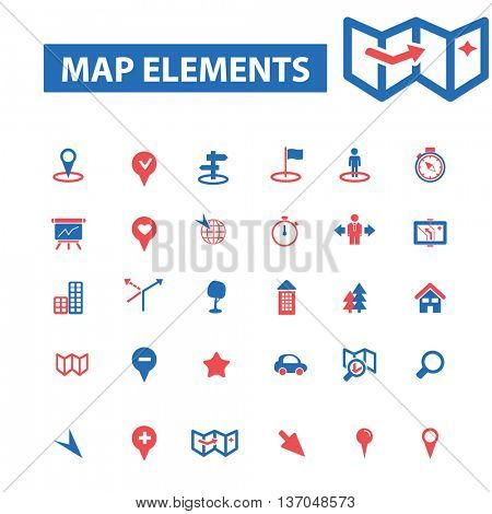 map elements, location, direction, route, car navigation, logistics, travel, positioning, compass, cartography, road, journey, searching icons, signs vector
