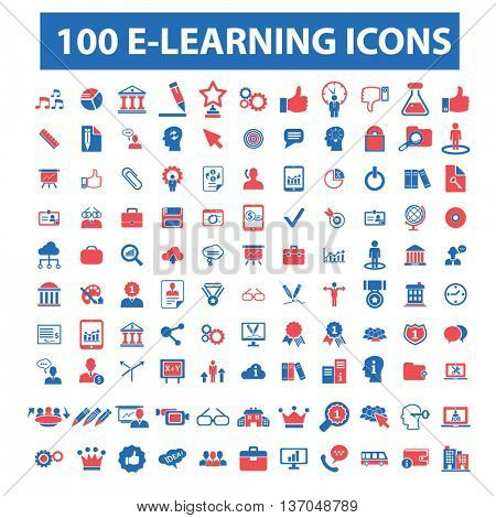 online learning, education, training, business study, teaching, idea, course, science, university, academic, book, exam, college, student, certificate, lesson, degree, school  icons, signs vector