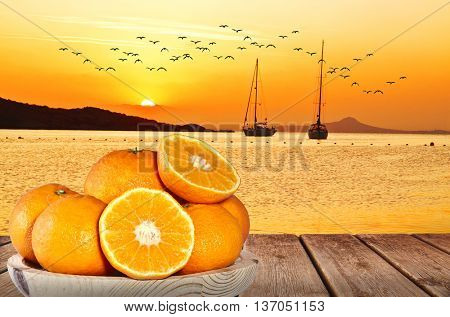 arange in the beach