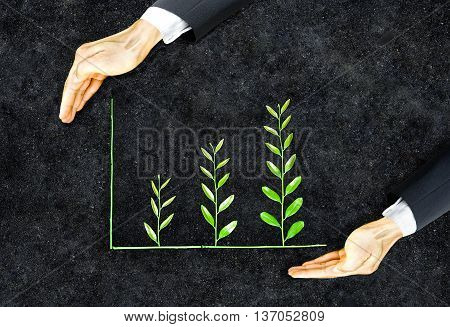 Business ethics / Hand of a businessman holding tree arranged as a green graph on soil background / Sustainable development / Corporate social responsibility / Moral behavior