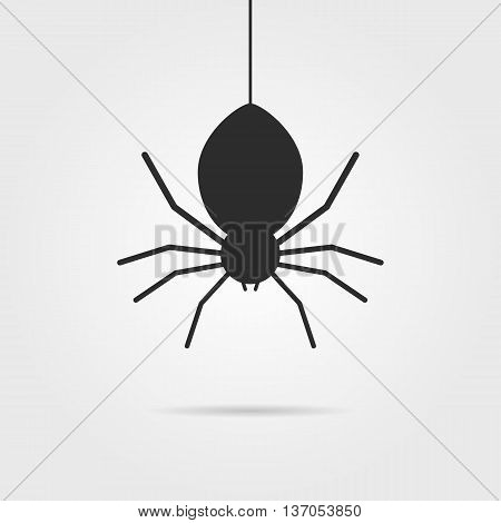 black spider icon with shadow. concept of spidery, fright, gossamer, crawly wildlife, deadly, arachnophobia, venom, ambush hunter, toxic beetle. flat style modern logo design vector illustration poster