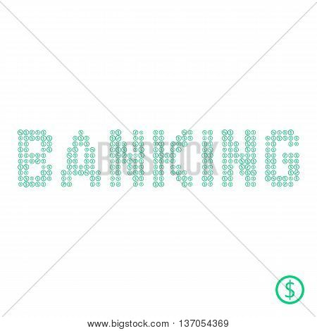 banking text from green dollar coin. concept of income, donation, budget, e-commerce, billing, finance sector. isolated on white background. flat style modern logotype design vector illustration