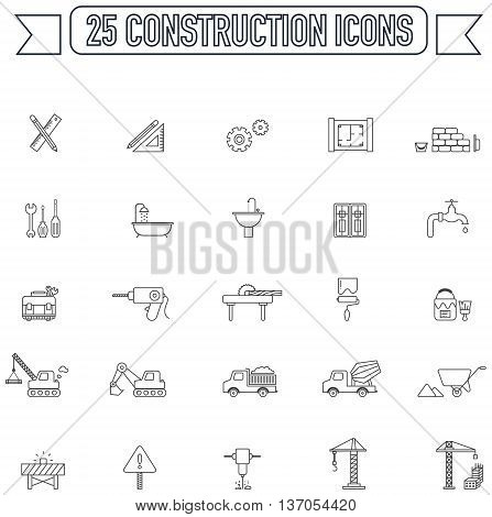 Flat line silhouette engineering and construction site industry graphic tool equipment sign and symbol icon collection set 2 create by vector