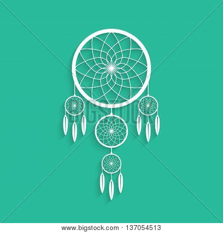 white dream catcher with shadow. concept of handmade, amulet, indigenous religion, slumber, hipster souvenir, nightmare, magical mascot, folk. flat style modern logo design vector illustration