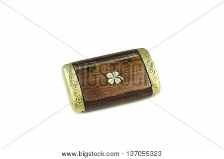 isolated on white portrait of old snuffbox