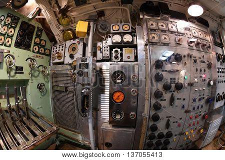 Baltimore, Usa - June 21 2016 - Inside Torsk Ii World War Submarine View Detail Close Up