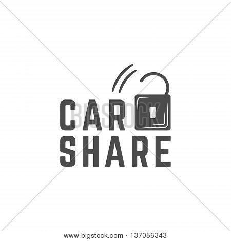 Car share logo design. Car Sharing vector concept. Collective usage of cars via web application. Carsharing icon, car rental element and lock symbol. Use for webdesign or print. Monochrome design.