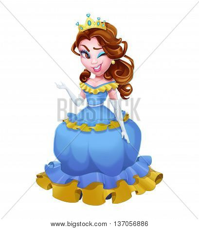 Bad Ass Princess. Human Character Design isolated on White Background